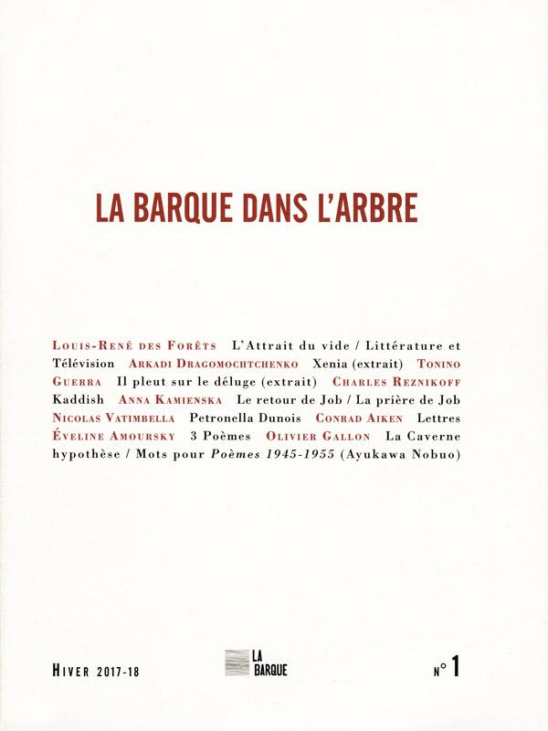 revue La Barque dans l'Arbre n°1 éditions La Barque