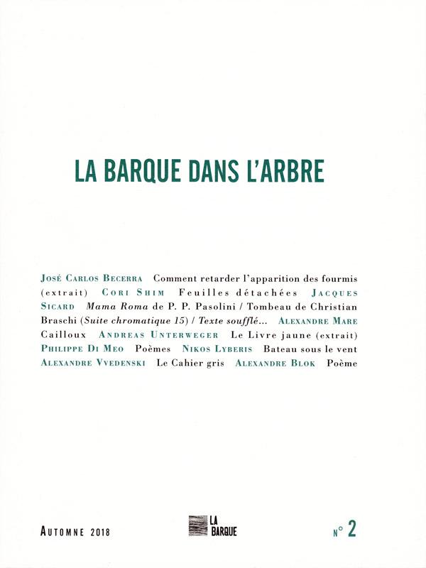revue La Barque dans l'Arbre n°2 éditions La Barque